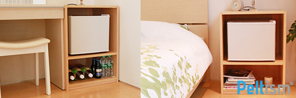 Peltism小型冷蔵庫専用キャビネット設置例